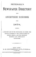 Newspaper Directory   Advertisers  Handbook for 1878
