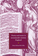 Poetry and Music in Seventeenth Century England