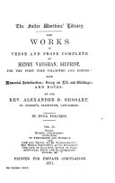 The Works in Verse and Prose Complete of Henry Vaughan  Silurist