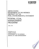 Federal Coal Management Program
