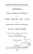 Notes Critical  Illustrative and Practical on the Book of Job