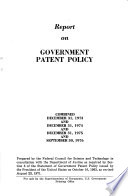 Report on Government Patent Policy