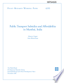Public Transport Subsidies and Affordability in Mumbai  India Book