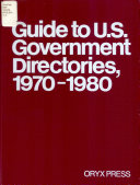 Guide To U S Government Directories 1970 1980