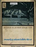 The University of Colorado Catalogue