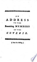 An Address to the Remaining Members of the Coterie