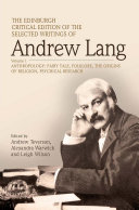 Edinburgh Critical Edition of the Selected Writings of Andrew Lang, Volume 1 Pdf/ePub eBook