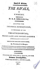 The Rivals A Comedy Adapted For Theatrical Representation Roach S Ed