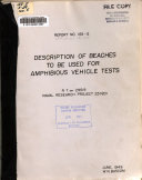 Description of Beaches to be Used for Amphibious Vehicle Tests Book PDF