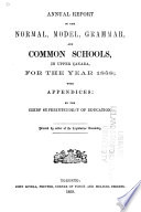 Annual Report of the Normal  Model  and Common Schools in Upper Canada for the Year