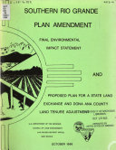 Southern Rio Grande Plan Amendment  Final Environmental Impact Statement and Proposed Plan for a State Land Exchange and Dona Ana County Land Tenure Adjustment