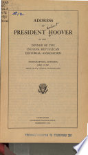 Address of President Hoover at the Dinner of the Indiana Republican Editorial Association