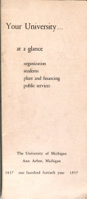Your University at a Glance  Organization  Students  Plant and Financing  Public Services