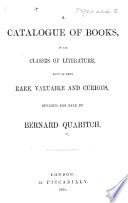 A Catalogue of Books     offered for sale by B  Quaritch Book