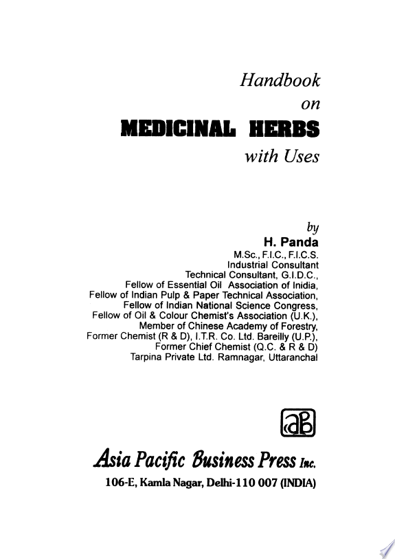 Handbook On Medicinal Herbs With Us
