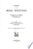 Studies in the Mosaic Institutions