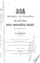 Proceedings and Transactions of the Queensland Branch of the Royal Geographical Society of Australasia
