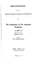 Proceedings Of The Annual Meeting Of Life Insurance Association Of America