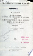 Government Patent Policies