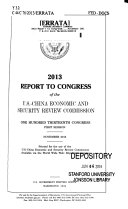 Report to Congress of the U S  China Economic and Security Review Commission