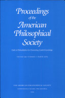 Pdf Proceedings, American Philosophical Society (vol. 149, no. 1, 2005) Telecharger