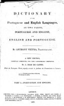 A Dictionary of the Portuguese and English Languages     A New Edition  Etc