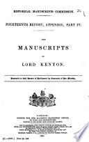 The Manuscripts of Lord Kenyon Book
