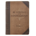 Journal Lux-Leather with Zipper Be Strong Joshua 1: 9