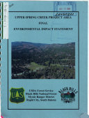 Black Hills National Forest  N F    Upper Spring Creek Project Area