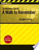 Cliffsnotes On Nicholas Sparks A Walk To Remember Teacher S Guide Book