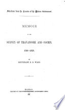 Memoir of the Survey of Travancore and Cochin  1816 1820