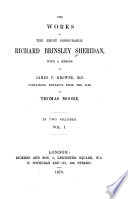 The Works Of Richard Brinsley Sheridan Memoir The Rivals St Patrick S Day The Duenna A Trip To Scarborough V 2 The School For Scandal The Critic Pizarro Verses To The Memory Of Garrick The Camp