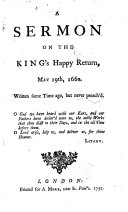 A Sermon on the King s Happy Return  May 29th  1660