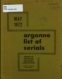 Argonne List of Serials