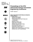 Proceedings of the 27th Intersociety Energy Conversion Engineering Conference