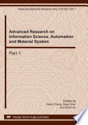 Advanced Research on Information Science  Automation and Material System Book