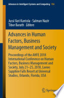 Advances in Human Factors  Business Management and Society Book