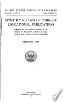 Monthly Record Of Current Educational Publications