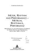 Meter  Rhythm  and Performance