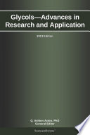 Glycols   Advances in Research and Application  2013 Edition Book