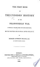 The First Book of Thucydides  History of the Peloponnesian War  Literally Translated     With Notes  Original and Select  by R  A  Billing Book PDF