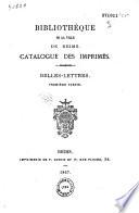 Bibliothèque de la ville de Reims. Catalogue des imprimés