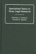 Specialized Topics In Texas Legal Research
