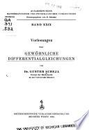 Vorlesungen über Gewöhnliche Differentialgleichungen