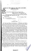 Report Of The Chief Of The Food And Drug Administration