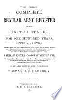 Complete Regular Army Register of the United States Book