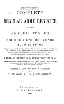 Complete Regular Army Register of the United States