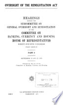 Oversight of the Renegotiation Act