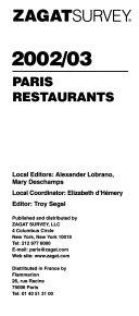 Zagatsurvey 2002/2003 Paris Restaurants