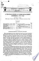 A Ten Year Review Of Home Management Extension 1914 1924